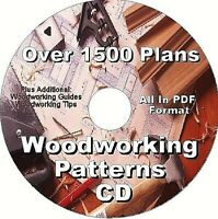 1500 PREMIUM WOODWORKING PLANS CD    PLUS BONUS SHOP PROJECTS CD.