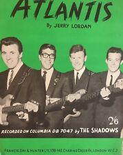 THE SHADOWS   1963 Original sheet  music - ATLANTIS BY Jerry Lordan