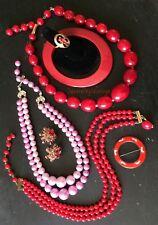 7 Reds & Pinks Lot Vintage Jewelry JAPAN GLASS / CORO / SARAH / LUCITE / ENAMEL