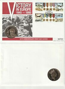 ISLE OF MAN 3 MAY 1995 VE DAY 50th ANNIVERSARY £5 COMM COIN FIRST DAY COVER