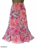 GINA BACCONI Pink Mix Floral Chiffon Midi Skirt Lined UK 16
