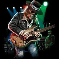 Texas Blues Skull Playing Guitar Rock & Roll Music Lovers T-Shirt Tee