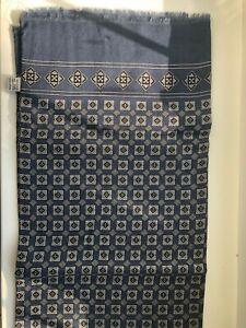 New Vintage Mens Blue/Black/White Patterned Geometric Scarf