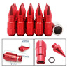20pcs Aluminum 12X1.25 24MM Lug Nuts + 1 Pcs Key Fit Nissan Subaru Suzuki Red