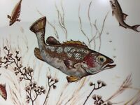 VINTAGE WAVERLY PRODUCTS SALMON SERVING DISH PLATTER+INFO TAG 1950'S-60'S UNUSED