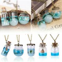 Neu Vintage Glaskugel Anhänger Halskette Ozean Muscheln Seestern Wishing Flasche