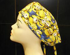 Male Female SCRUB HAT CAP NURSE DOCTOR COOK VET HAIR LOSS CHEMO - Ties.  MINIONS