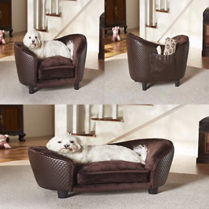 Pet Sofa Couch Plush Snuggle Bed Dog Luxury Seat Chair Cat Brown Washable Cover