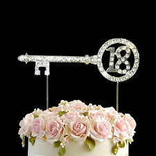 Diamante Rhinestone Gem Cake Pick Topper Birthdays Anniversary Numbers-18 key