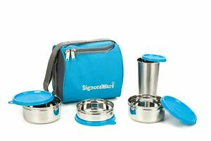 Steel Lunchboxes & Bags Blue (500 ml+350 ml+200 ml) with Steel Tumbler 370 ml
