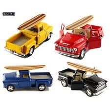 Set of 4: Kinsmart 1955 Chevy Stepside 3100 Pick Up Truck 1:32 diecast Surfboard