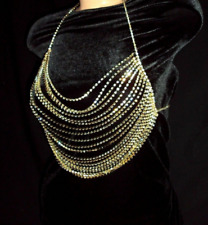 Gold Rhinestone Drape Strand Necklace Bra Chains Body Dressy Bling Statement