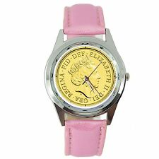 QUEEN ELIZABETH GOLD COIN ROYAL LEGEND Steel PINK LEATHER BAND ROUND GIFT WATCH