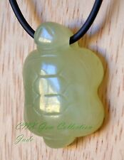 Natural Crystal Gemstone Green Jade Hand Carved Turtle Pendant with Hole