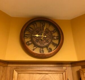 Vintage Decorative Round Kitchen Wall Clock Quartz Non Ticking Battery Operated