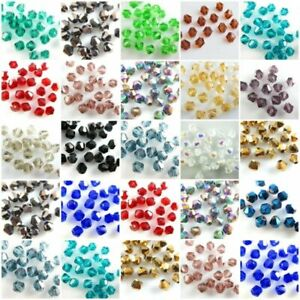 500Pcs Bulk Faceted Bicone Crystal Glass Beads Loose Jewelry Findings 4mm Beads