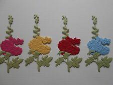 Die cuts - Embossed Hollyhocks x 4 - assembled Brights Flowers