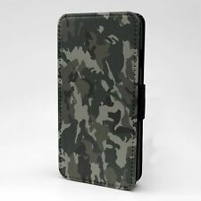 For Apple iPod Touch Flip Case Cover Black White Camouflage - G1254