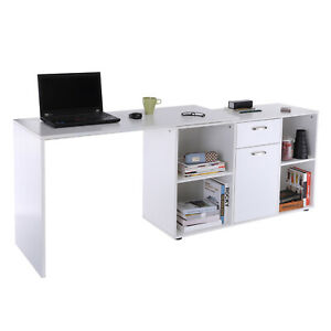 Swivel Office Desk Rotating Corner Table Storage Drawer Cupboard Shelves White