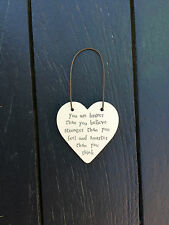 East of India Mini Wooden Heart on Wire Hanger Braver Than You Believe