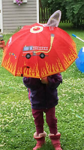Kidorable Fireman Umbrella - Red - One Size Umbrellas and Rain Gear Childs