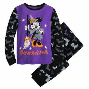 Disney Store Mickey Minnie Mouse Halloween Costume Pajamas PJ Pals Glow in Dark