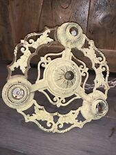 Antique Architectural Salvage Cast Iron 3 Bulb Hanging Ceiling Light Fixture Art