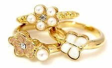 Zest 3 Butterfly & Flower Gold Look Ring Stack Small