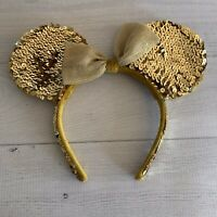 Disney Disneyland Minnie Mouse 50th Anniversary Gold Ears Headband Sequins