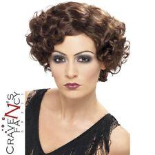 Ladies Brown 1920s Wig WW2 Gatsby Flapper 20s 30s 40s Fancy Dress Movie Star New