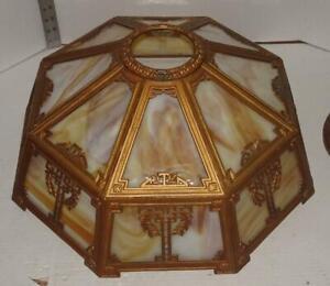 Vtg Arts & Crafts Slag Glass Table Lamp Shade Panel Glass Shade Wilkinson? SH04