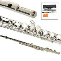 New School Student Band Silver 16 Hole C Flute with Key E + Case Accessories