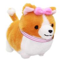 "Corgi Plush Doll Soft Plush Toy Stuffed Animal Keychain Orange Pink Collar 4"""