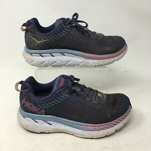 Hoka One One Clifton 5 Sneakers Running Shoes Low Top Lace Up Purple Womens 7 D