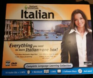 INSTANT IMMERSION Learn Italian All Levels,Audio Cd, Software DVD ROM Set