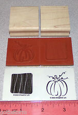 Pumpkin Rubber Stamp Vertical Background Lines by Stampin Up Little Layers II