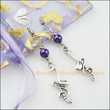 Winsome Silver Retro Note Purple Glass Dangle Hook Earrings Women Jewelry