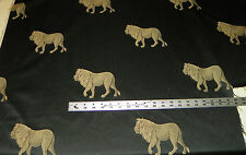 Black Tan Lion Print Upholstery Fabric Remnant  1 Yard  R850