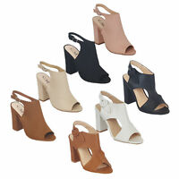 Ladies Mule Sandals Womens Block Heel Peep Toe Shoes Buckle Party Fashion New