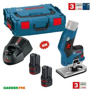 new - Bosch GKF 12V-8 Cordless 12V ROUTER 2 Batteries 06016B0070 3165140909808 .
