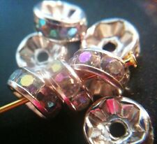 Rondelle Spacers Silvertone ClearAB Crystals 8mm 10pcs