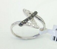 Black & White Diamond Ring 10K White Gold Lightweight Diamond Ring .15ct NR