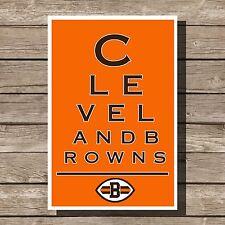 """Cleveland Browns Art Football NFL Eyechart Poster Man Cave Decor 12x16"""""""