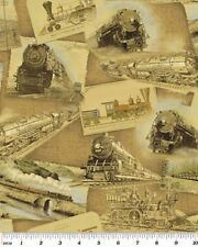 Fat Quarter Locomotion Trains Ride The Rails Antique Quilting Fabric  Benartex