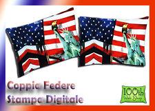 COPPIA FEDERE 52X82 100% COTONE STAMPA DIGITALE BLU NEW YORK USA AMERICA 0116