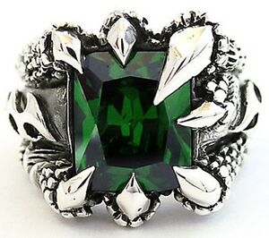 GREEN EMERALD DRAGON CLAW STERLING 925 SILVER RING