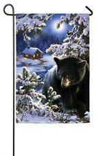 Little Winter Blessings Black Bear Chickadees Wildlife Outdoors Sm Garden Flag