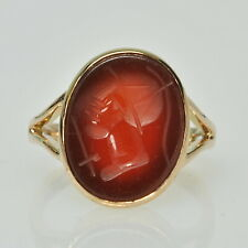 VINTAGE 10k Yellow Gold Carved Carnelian Intaglio Estate Ring Size 8 1/2
