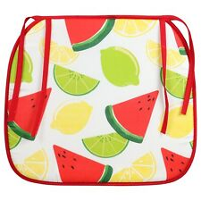 4 Watermelon Lemon Patio Kitchen Outdoor Red White Chair Pads Tie On Nwt
