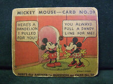 SCARCE 1935 MICKEY MOUSE BUBBLE GUM CARD #29